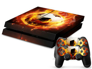 Sony-PS4-Playstation-4-Skin-Design-Aufkleber-Schutzfolie-Set-Soccer-Motiv