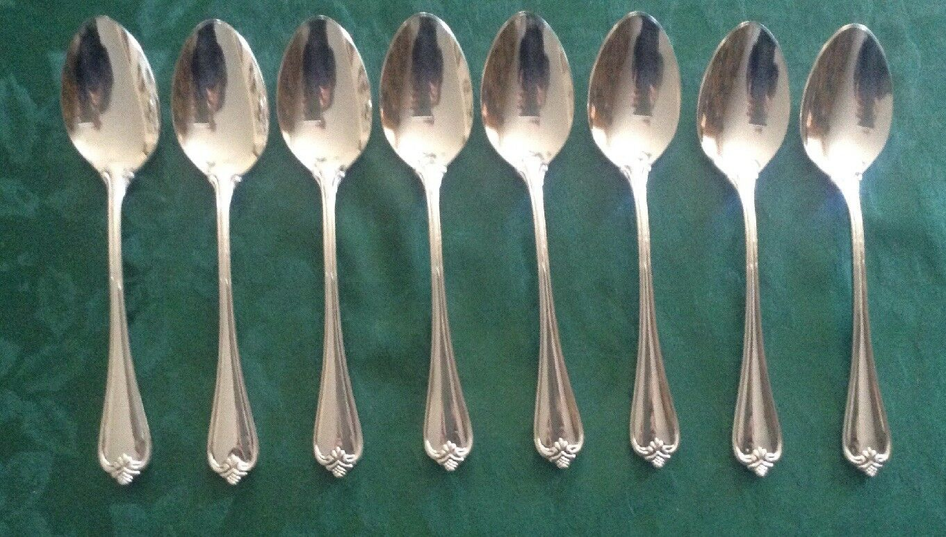 Reed & Barton 18 8 stainless Rosacliff soup soup soup spoons lot of 8 NM polished 2b6da0