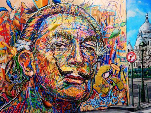 A0 SIZE CANVAS PRINT SALVADOR DALI modern  GRAFFITI Street Art wall decor