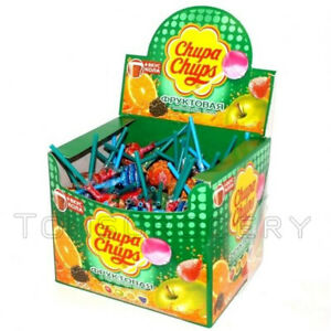 100-x-Chupa-Chups-Lollipops-Box-Grape-Orange-Apple-amp-Strawberry-Flavors-Mix