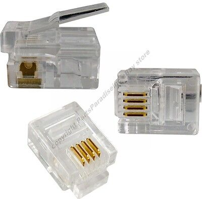 Lot50 Phone//Telephone RJ12 6P6C 6wire Crimp End//Terminator for Flat cable//cord