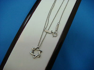 "TIFFANY&CO 950 PLATINUM ""STAR OF DAVID"" SMALL PENDANT ON 16"" PLATINUM NECKLACE"