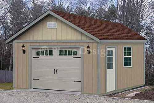 16 ft  x 24 ft  Garden Storage Shed Structure / Car Garage Plans, Design #51624