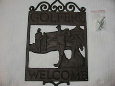 """Vintage Look CAST IRON GOLF Sign.""""WELCOME GOLFERS"""" Yard, Man Cave,Fathers Day."""