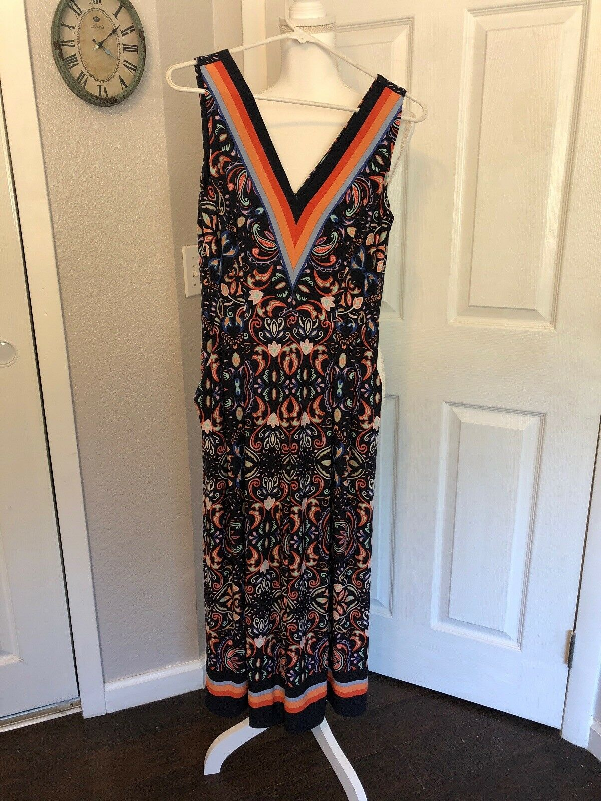 VINCE CAMUTO JUMPSUIT Sz Small Sleeveless Navy orange Size 4 NEW