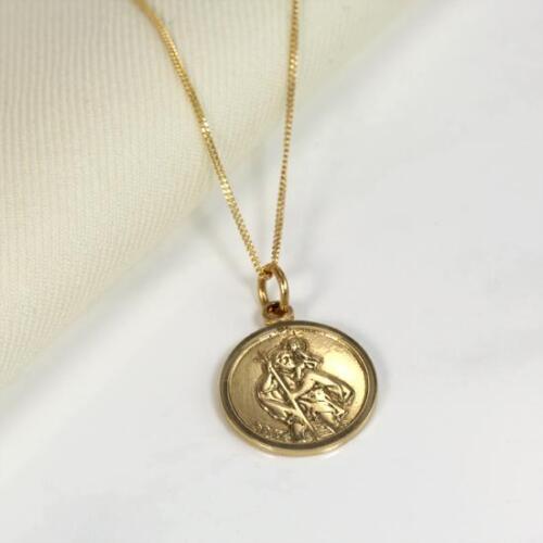 De 9 quilates de oro amarillo Ronda St Christopher Medalla Collar 16 18 pulgadas pulgadas Grabado Gratis