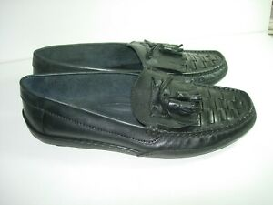 MENS BLACK LEATHER LOAFERS DRIVING