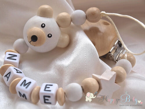 Baby holder Personalised Dummy Clip Wooden Clip Baby gift /& Baby shower