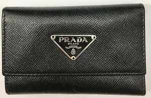 f16bbb9759e66a Image is loading Prada-Black-Saffiano-Leather-Key-Case