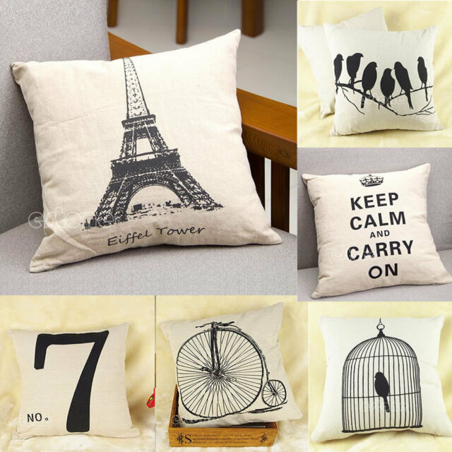 Retro Simple Cotton Linen Pillow Case Sofa Home Decor Throw Square Cushion Cover