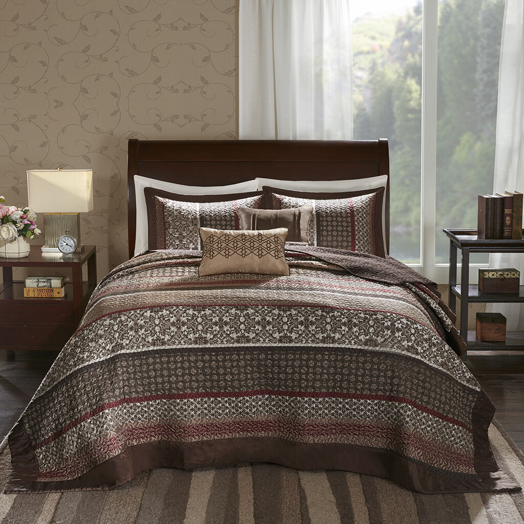 BEAUTIFUL XXL MODERN braun rot TAUPE STRIPE LEAF LODGE COZY BEDSPREAD QUILT SET