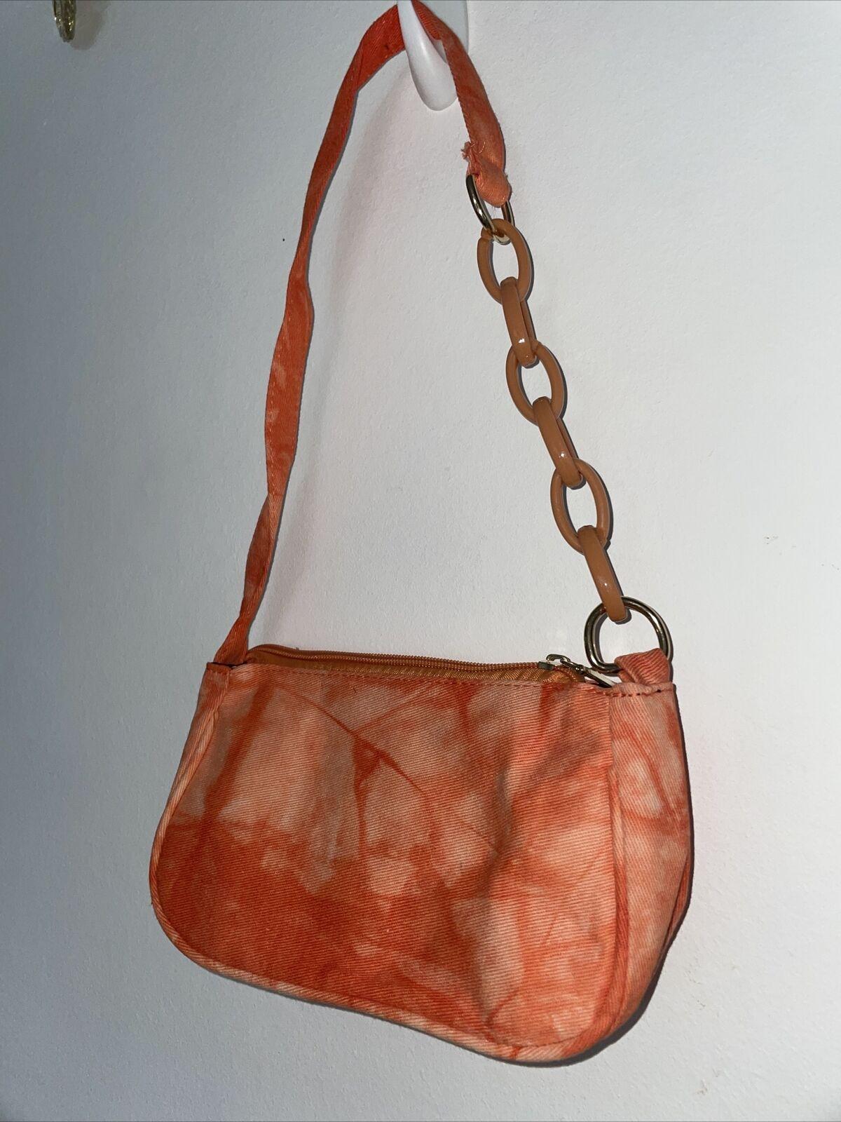 Orange Tie Dye Acid Wash Trendy Baguette Shoulder Bag Y2k