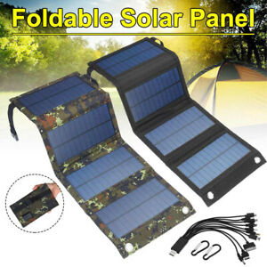 Black Solar Panel Folding 70W Power Bank Outdoor Camping Hiking Battery Charger