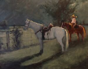 Horse-Cowboy-Rodeo-Moonlight-night-oil-painting-by-Margaret-Aycock-Oklahoma