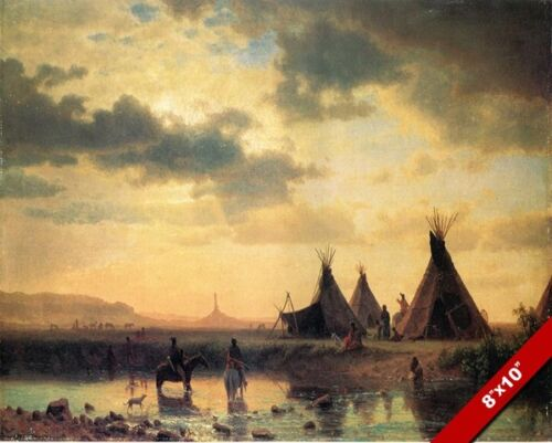 SIOUX INDIANS AT CHIMNEY ROCK NEBRASKA OIL PAINTING ART PRINT ON REAL CANVAS
