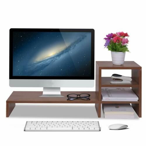 3-Tier Computer Monitor Stand Riser Wooden for Home and Office Use Walnut