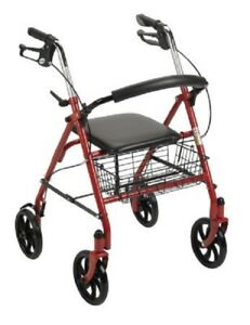 McKesson-Medical-Rollator-Adult-Senior-Walker-RED-300-lbs-31-to-37-Inch