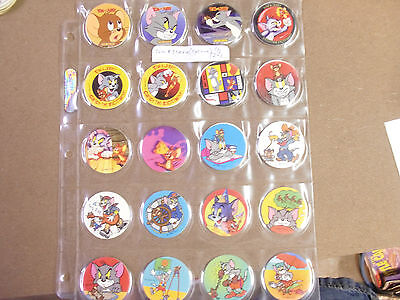 TOM & JERRY BY CYCLONE COMPLETE SET OF (30) EXTENDED VERSION POGS/MILKCAPS