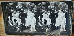 Antique-Stereograph-Card-Wedding-Series-Lot-of-9-Cards-H-C-White-c-1902