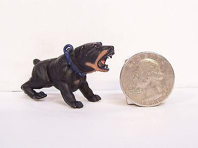"NEW RARE Black Dobie Doberman Pinscher 1.25/"" Figure Figurine Hood Hounds Dog"