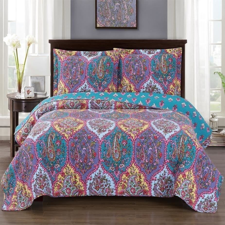 Paisley Retro Farbe OverGrößed Microfiber Coverlet Quilt Set AND Pillow Shams
