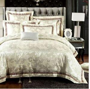 Golden Beige Queen Jacquard Silk Cotton 600TC Duvet Cover Bed Set Luxury 4//6pc