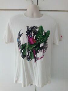 Ted Baker White T Shirt Medium M Size 4 Lobster Parrot Print Mens Summer