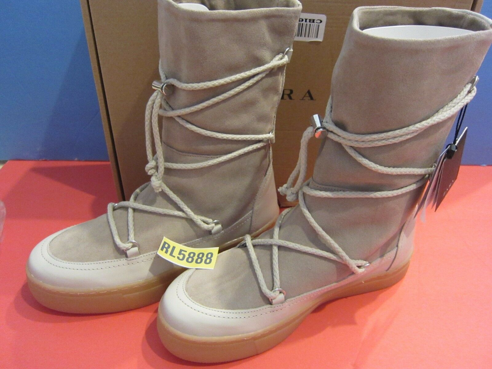 NEW ZARA Split Suede Lace-Up Boots Shoes Taupe US 6.5 Bloggers Fave 159.9