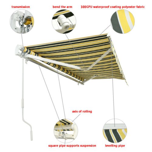 Retractable Manual Awning Canopy Outdoor Patio Garden Sun Shade Shelter Wine Red