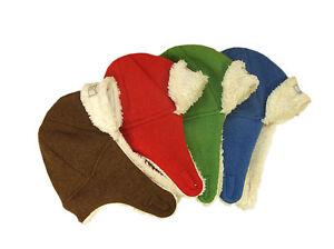 PICKAPOOH Hat 100% MERINO wool boiled plush Baby Boy Girl kids earflap winter