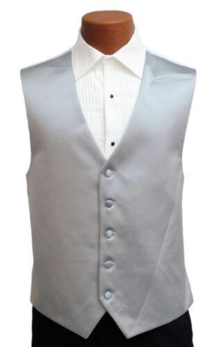 Light Silver Satin Mens Fullback Formal Tuxedo Vest Gray Wedding Vest Groomsman
