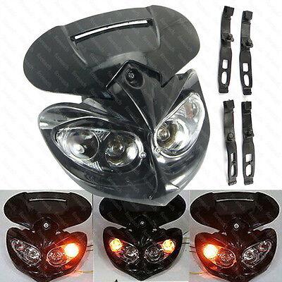 Black Streetfighter Street Fighter Headlight Fairing For Motorcycle Bike Spyder
