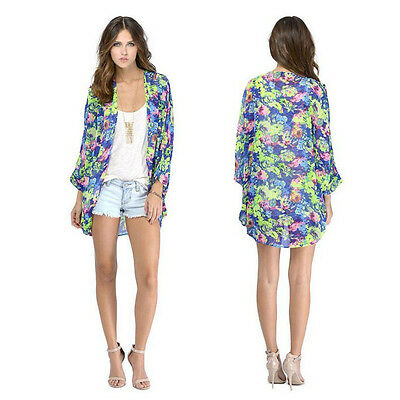New Women Floral Loose Shawl Kimono Boho Chiffon Cardigan Coat Jacket Cheap