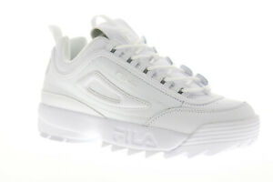 Fila-Disruptor-II-Premium-Mens-White-Leather-Casual-Low-Top-Sneakers-Shoes