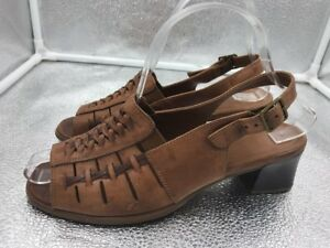 Vintage K Clarks 5 38 Womens Brown Woven Leather Slingback Sandals ...
