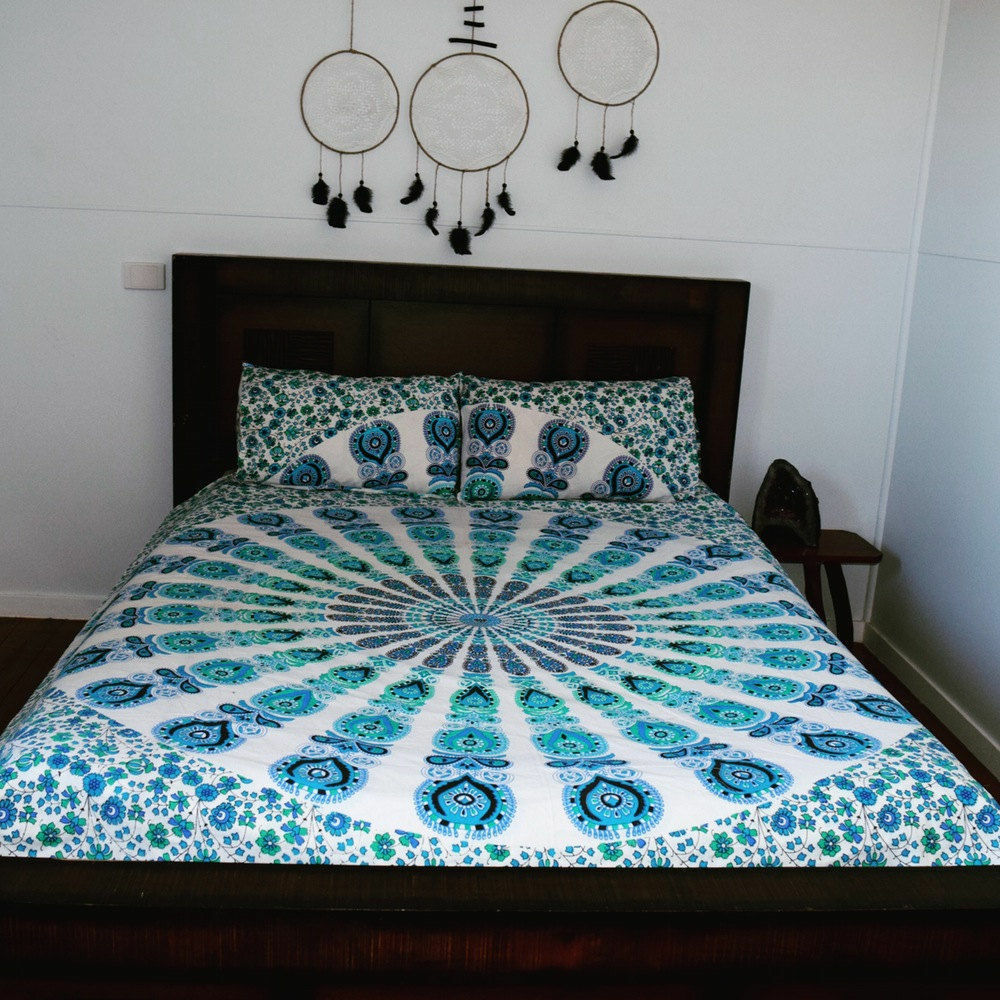 Indian Cotton Ethnic Duvet Doona Mandala Hippie Bohemian Quilt 2 Pillow Cover