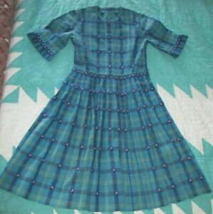 Vintage-Handmade-Girls-Blue-amp-Green-Plaid-Dress-with-Tiny-Flowers-Size-8-10