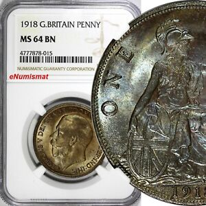GREAT-BRITAIN-George-V-Bronze-1918-1-Penny-NGC-MS64-BN-BETTER-DATE-KM-810