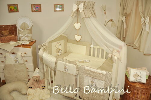 LUXURY 16 pcs BABY BEDDING SET//BUMPER//DRAPE//HOLDER to fit cot or cot bed