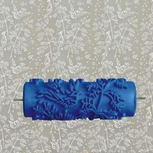 Details about Blue Rubber Roller Wall Decoration Paint Roller Leaves  Designs Without Hand Grip