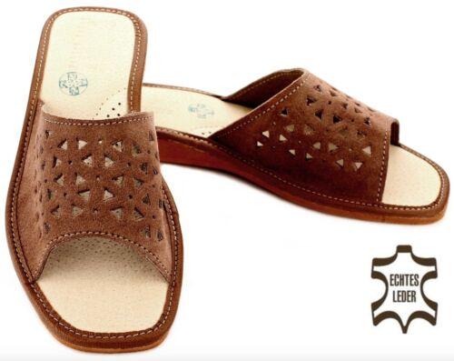 Damen Panoletten aus weichen Leder HausSchuhe Pantoffeln in Schuhgröße 36-41 NEU