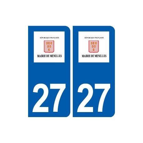 27 Ménilles logo autocollant plaque stickers ville droits