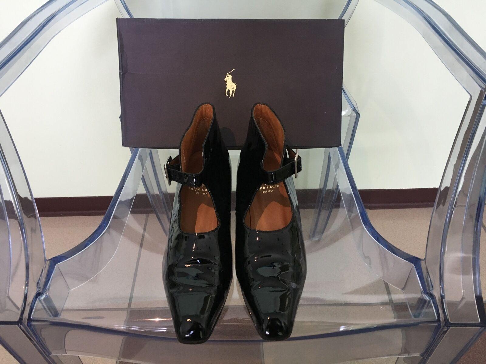 Women's Polo Ralph Lauren Black Patent Leather Mary Jane Pumps Size 7.5B