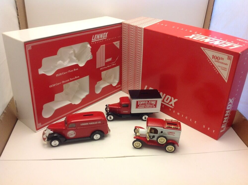 Lennox Vintage Vehicle Set, 1995, 100 years, 1938 Chevy, 1930 Chevy & 1913 Ford