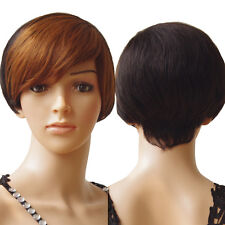 722773497e9 Brazilian Human Hair Bob Wig Short Straight Classic Cap Full Wigs With Bangs   N7