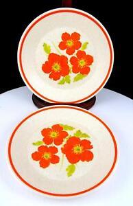 LENOX-FIRE-FLOWER-ORANGE-FLOWERS-2-PIECE-6-3-8-034-BREAD-amp-BUTTER-PLATES-1974-1983