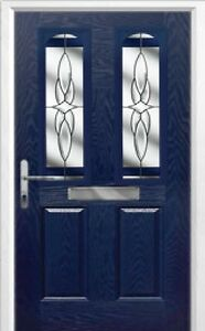2 Panel 2 Arch Crystal Harmony Composite Front Door in Black Various sizes