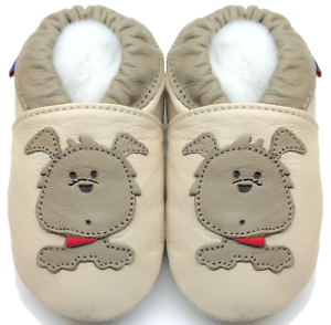 minishoezoo soft sole leather baby shoes boy toddler dog beige 18-24m US 7-8