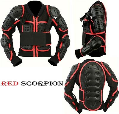 6-7 Years KIDS//CUB RED SCORPION SPINE GUARD CE BODY ARMOUR MOTORBIKE PROTECTION JACKET