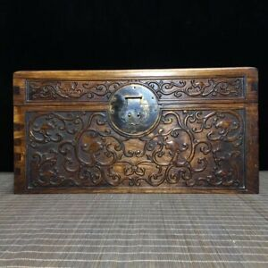 15-034-Chinese-old-antique-hand-carved-huanghuali-Wood-dragon-Jewelry-Storage-box